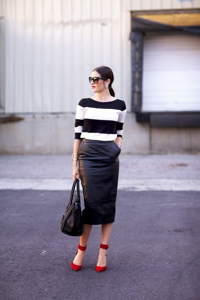 Big bold stripes are a great counterpoint to a leather pencil skirt. Add bright heels if you're feeling extra bold!