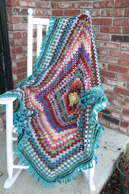 Rosebud Quilting Crochet Giant Granny Square Afghan Finished