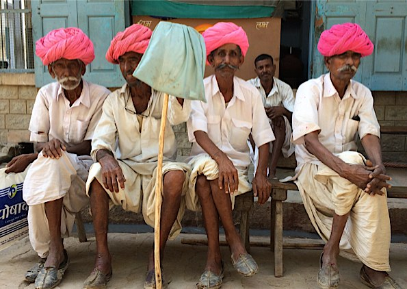 Pink turbans in Varanasi © Connie Gardner Rosenthal