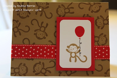 Tan birthday card with monkeys stamped on the background and red polka dot ribbon. Focal image is a monkey holding a red balloon, layered on red card stock.