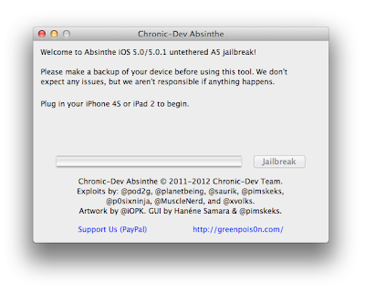Jailbreak Apple iOS 5.0.1 Untethered with Greenpoison Absinthe 1.2.2