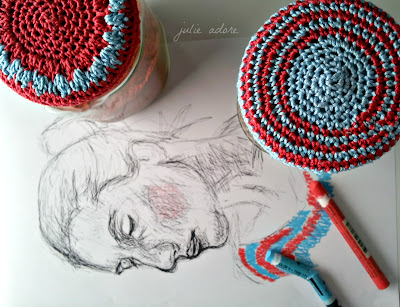 bleu rouge crochet pot confiture dessin fem foodme crayon drawing