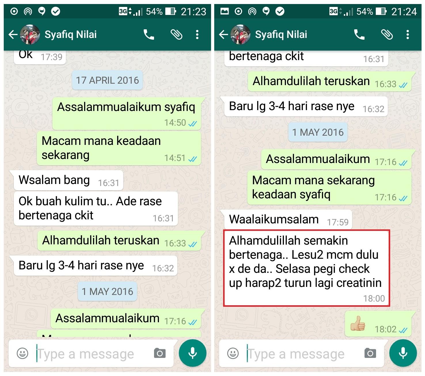 Testimoni Terkini 1.5.2016. Adik Syafiq dari Nilai.