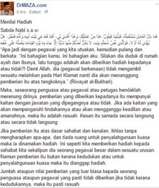 Pemberian kerana kedudukan adalah rasuah - Mufti Perlis