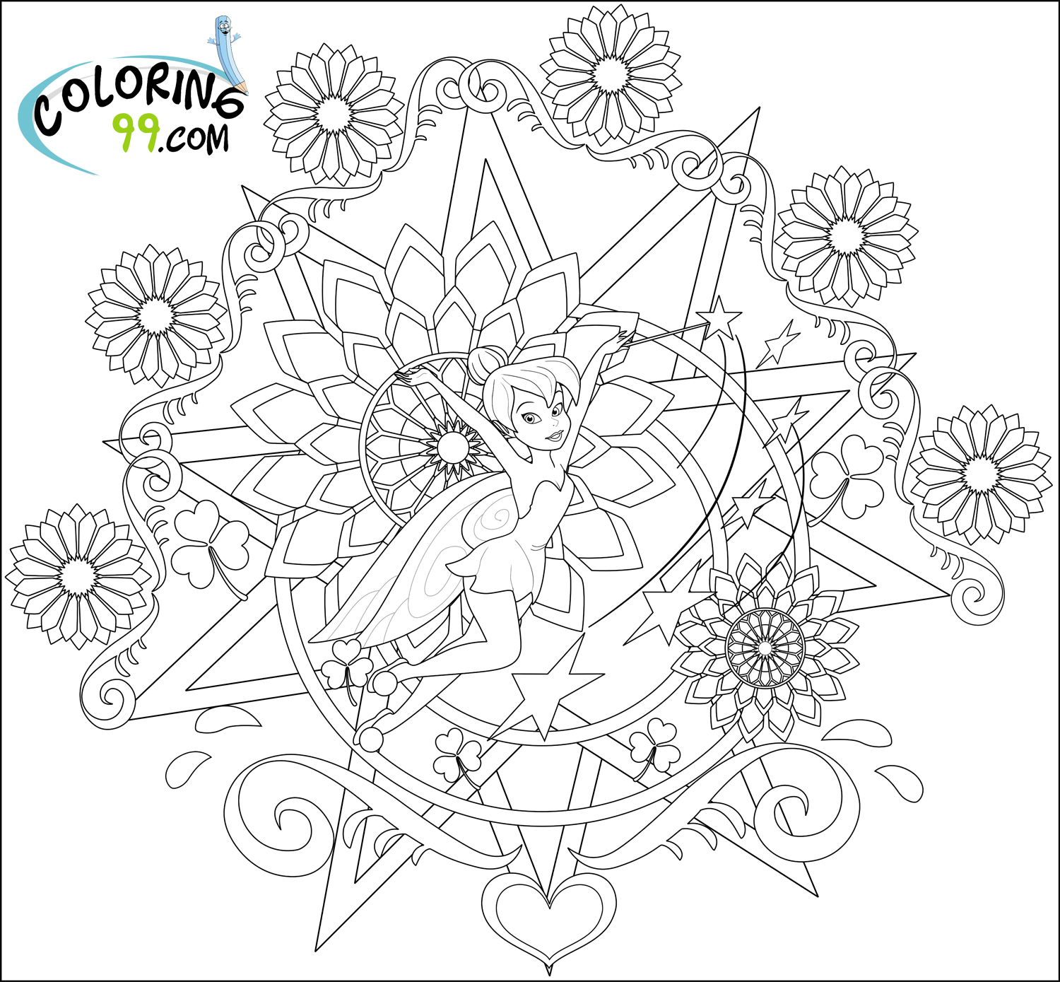 tinkerbell coloring pages team colors
