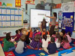 Students interacting with technology in the classroom