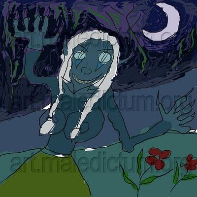 Ночная Эльфийка ночью у реки
