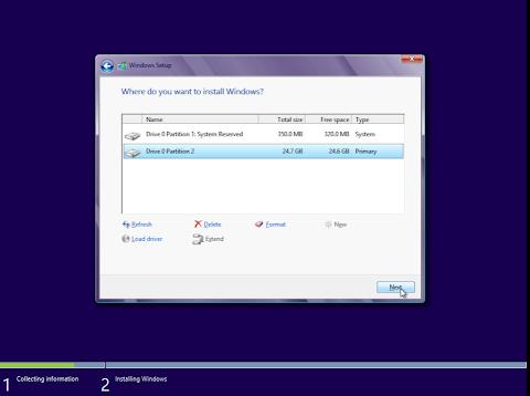 Pilih Partisi Pada Hardisk yang ingin anda Instal Windows 8, klik Next.