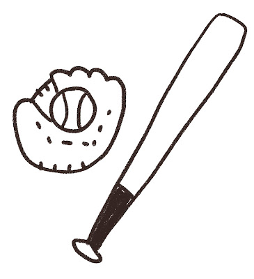 野球のバットとグローブのイラスト(スポーツ器具) モノクロ線画