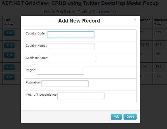 ASP.NET: GridView CRUD using Twitter Bootstrap Modal Popup ~ ALL IN ONE IT TUTORIAL