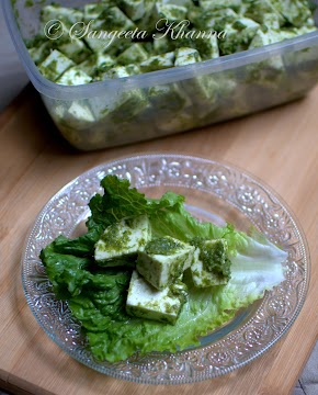 Green garlic shoots pesto and paneer salad..