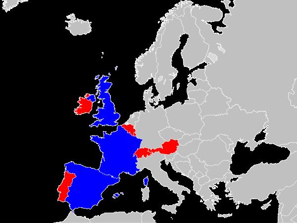 Países EuroMilhões, Euromilhões, Mapa Europa, Portugal, Espanha, França, Suíça, Áustria, Bélgica, Luxemburgo, Irlanda, Inglaterra, Escócia, País de Gales, ou Irlanda do Norte