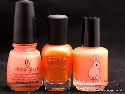 China Glaze Sun of a Peach, Zoya Beatrix and Hare Electric Flame
