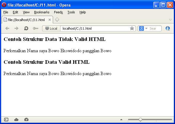 HTML Valid Struktur Data Penting