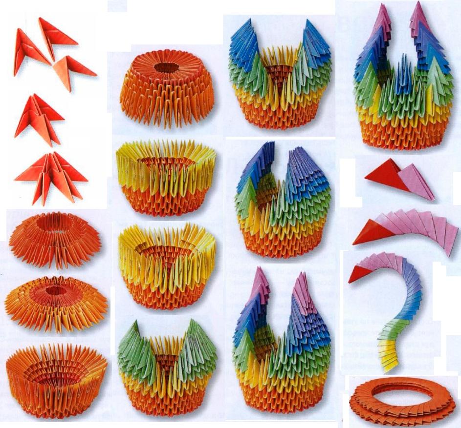 Оригами лебедей модульное со схемами