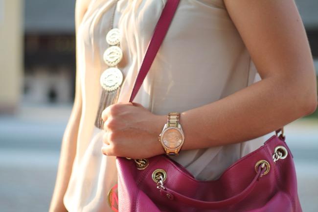 lavender star - fashionblogger -austrian blogger - oesterreich blogger - kaernten klagenfurt carinthia - michael kors jet set chain bag pink - zara sandalen silber - vero moda bluse beige - ledershorts schwarz zara - ray ban erika - sommer outfit - sommer look - outfit fuers buero