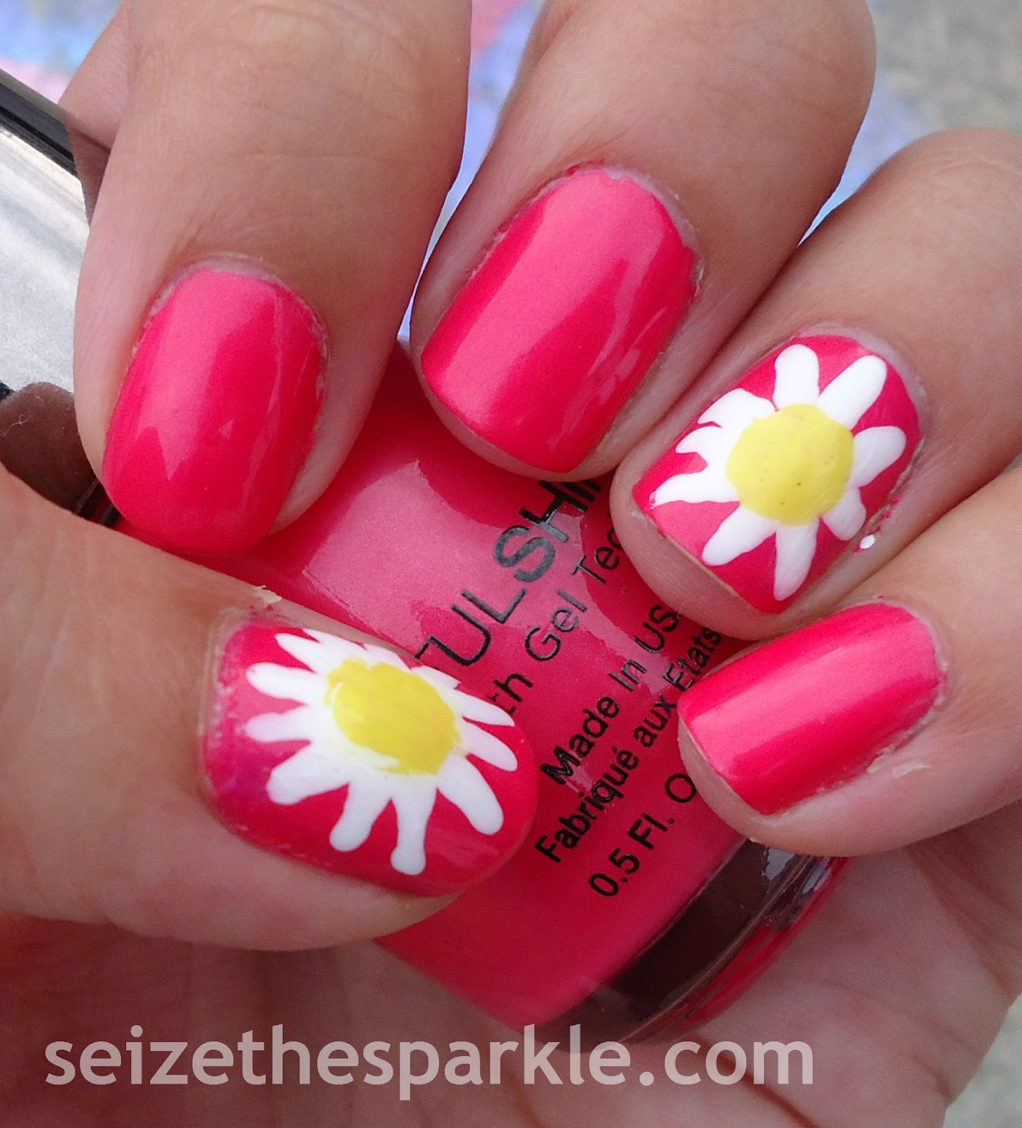 Daisies on Pink Nails