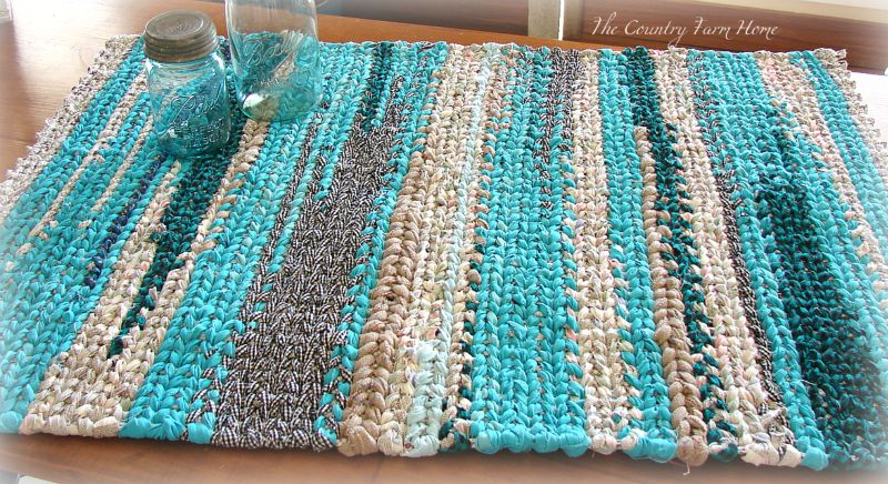 The country farm home denim rag rug on the farmhouse table for How to make rugs out of old t shirts