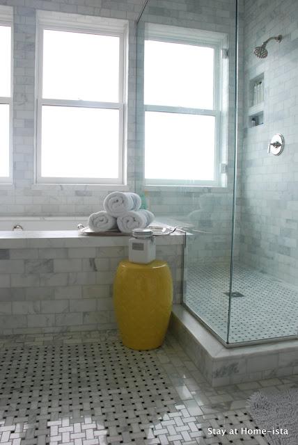 Marble tile master bathroom
