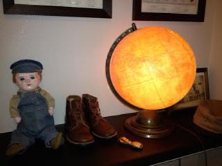 アンティーク地球儀ランプ,グローブランプ