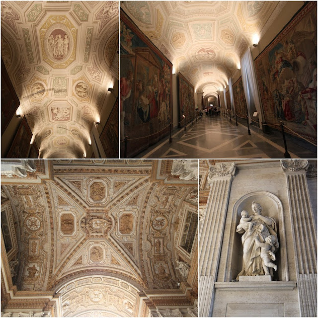 Two top pictures from Galleria Degli Arrazi in Vatican Museum, Vatican City,  Rome, Italy