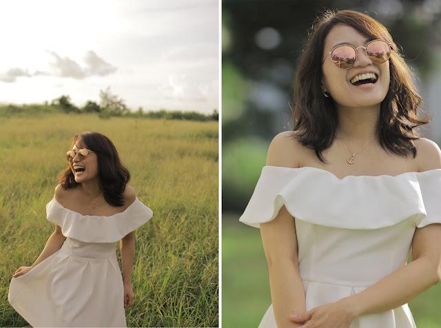 off-shoulder white dress, tagaytay, Rayban rose pink