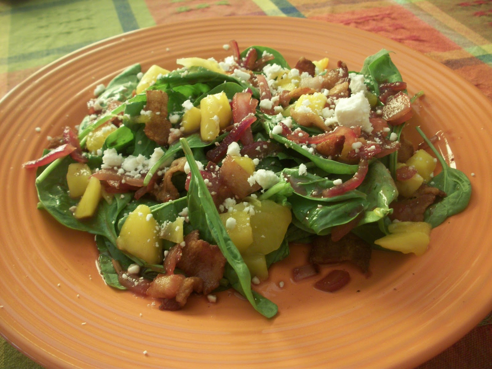 Cook with Sara: Mango-Spinach Salad with Warm Bacon Vinaigrette