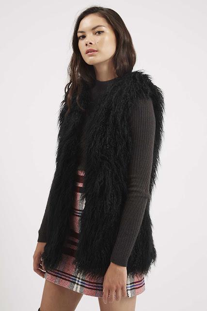 black fur gilet, faux fur waistcoat, topshop fur gilet,