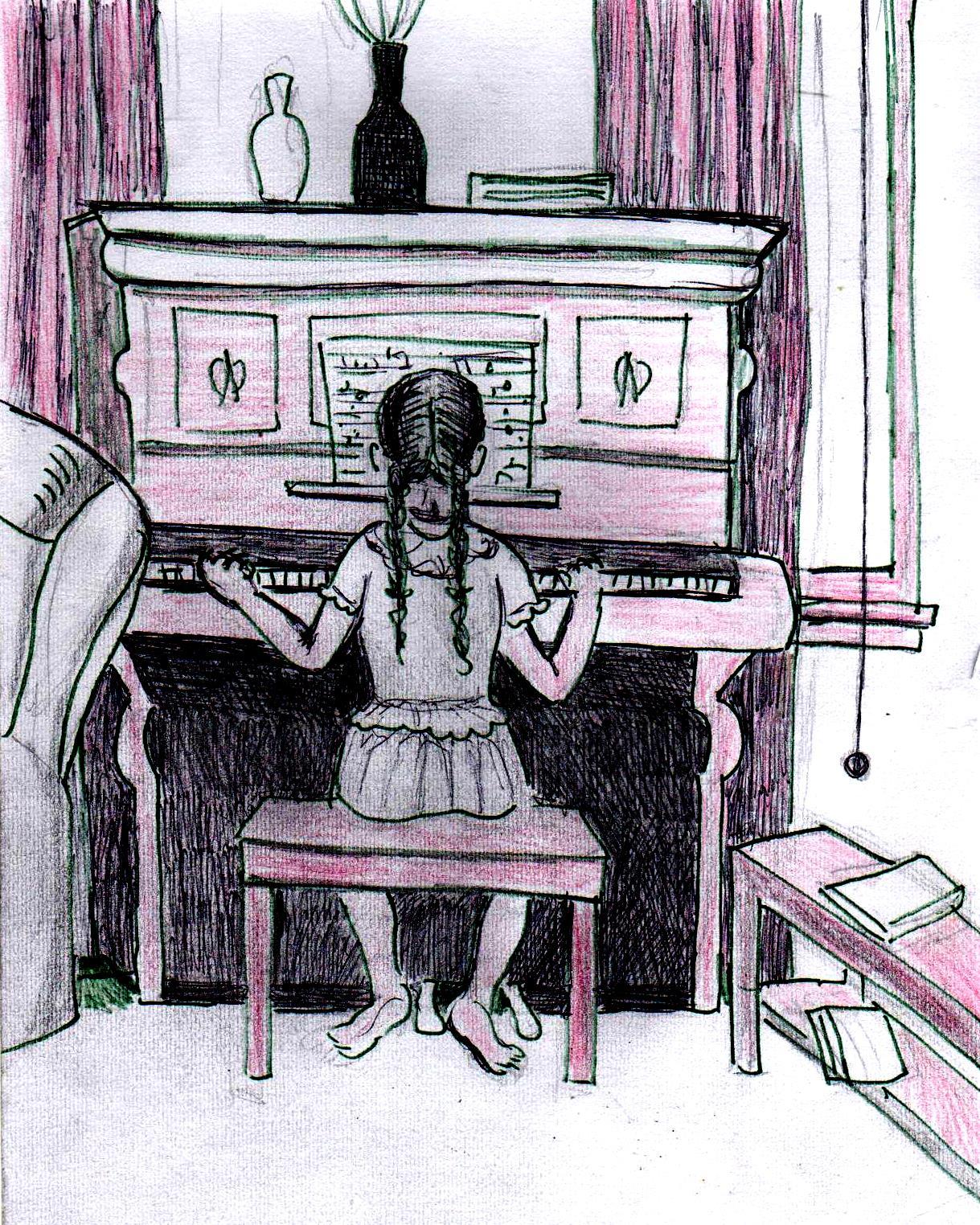 Girl playing piano drawing
