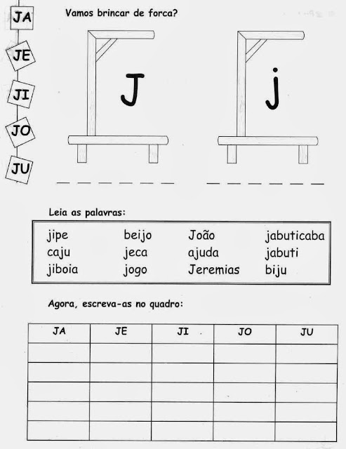 J,Atividades com a letra J.Ensino Fundamental, Atividades para imprimir, Alfabetização, Letras, 1º ano.