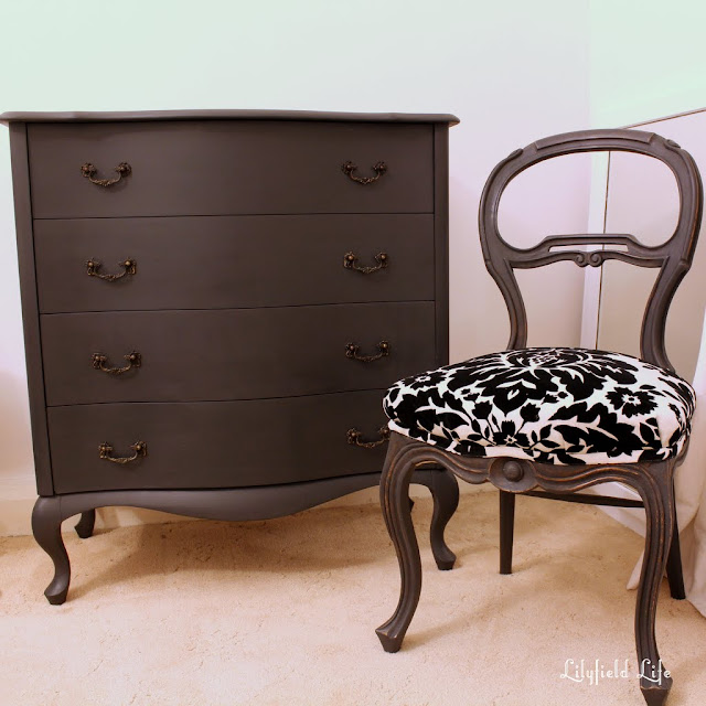 A black damask upholstered chair make over by Lilyfield Life