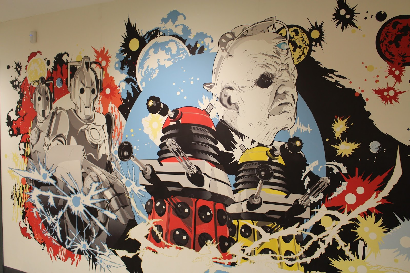 Dalek and Cybermen mural at the Doctor Who Experience