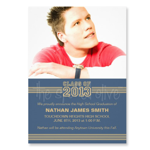 Class of 2013 Sporty Stripes Graduation Invitations