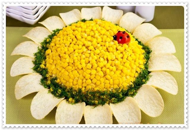 Maionese decorada em formato de girassol
