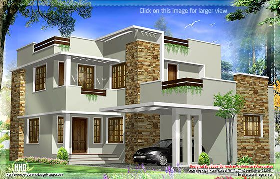 2172 kerala house with 3d view and plan - 1793 Square Feet Modern House Elevation Kerala House Design
