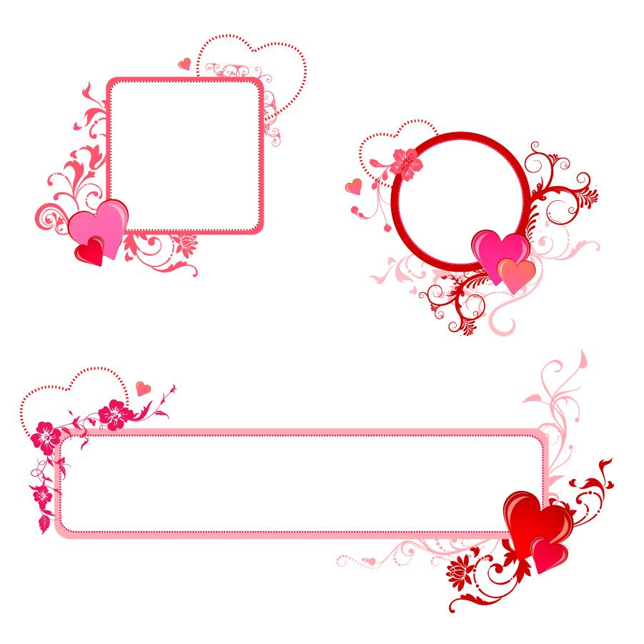 お洒落なハートを配置したフレーム Heart Valentine Border イラスト素材
