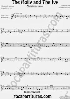 Partitura de Holly and The Ivy para Saxofón Soprano y Saxo Tenor Villancico Sheet Music for Soprano Sax and Tenor Saxophone Music Scores