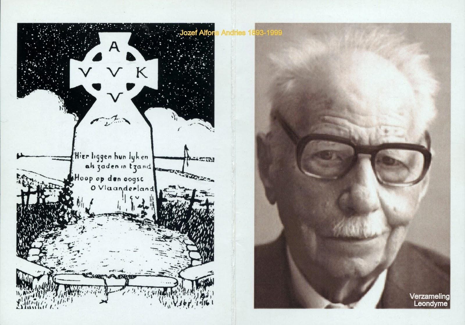 Voorzijde bidprentje Jozef Alfons Andries 1893-1999