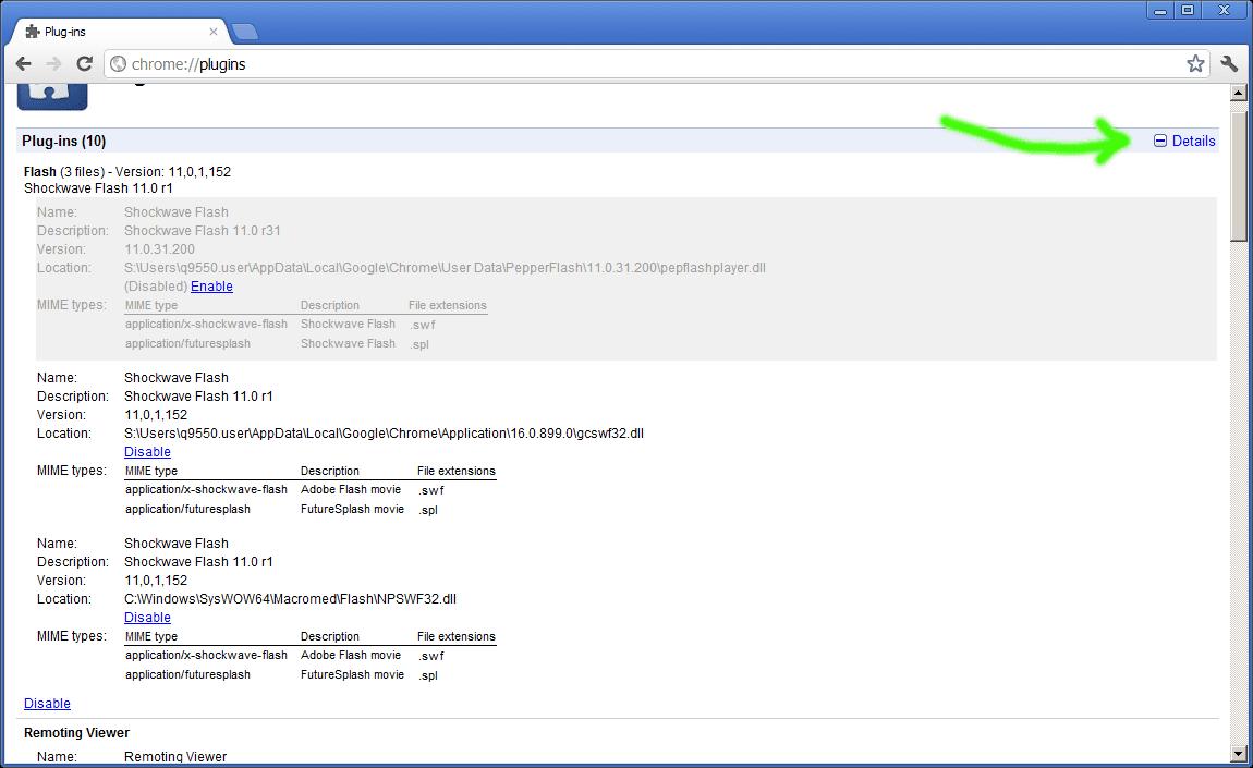 Disabling Builtin Flash Player In Google Chrome