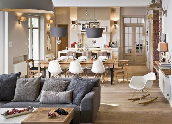 Estilo rustico cocina comedor living rustico - Cocina salon comedor integrados ...
