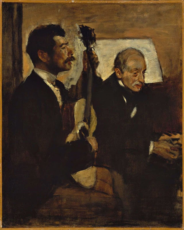 Edgar Degas - Degas' Father Listening to Lorenzo Pagans Playing the Guitar (1869-72)