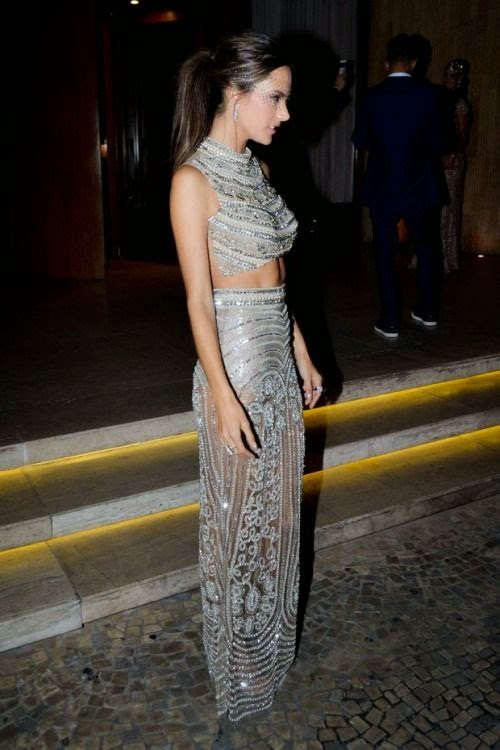 Alessandra Ambrosio wears a maxi dress at at the Baile da Vogue in São Paulo, Brazil on Thursday, February 5, 2015