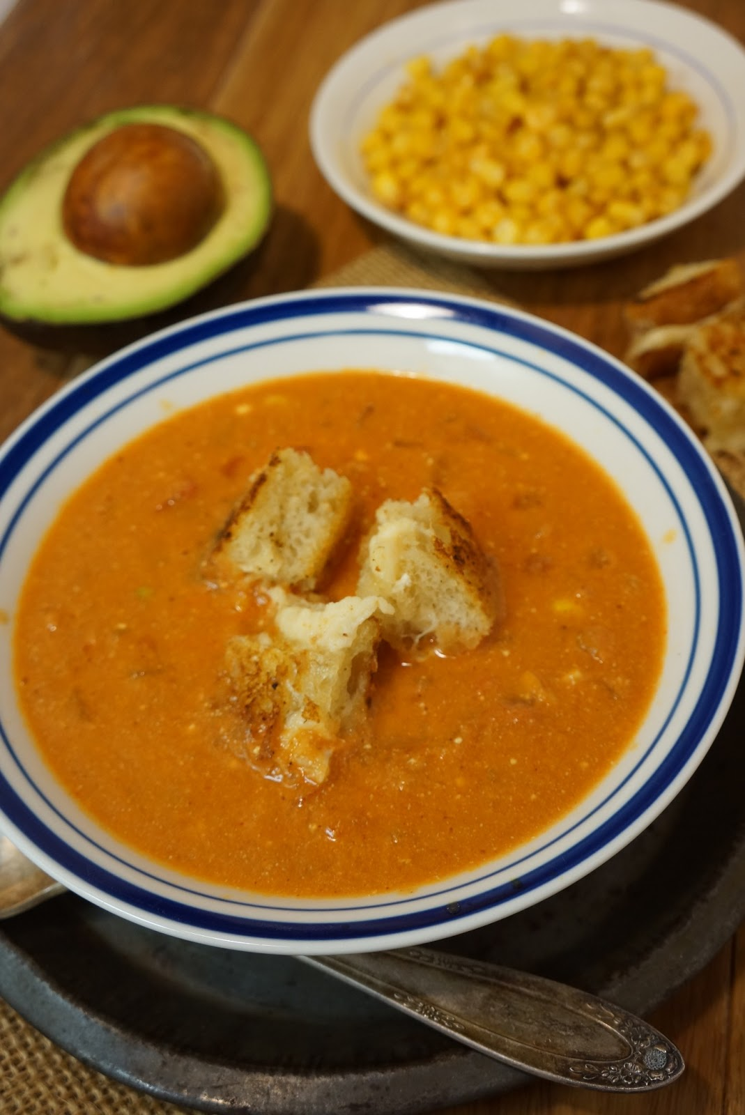 Roasted Corn and Tomato Soup with Grilled Cheese Croutons ...