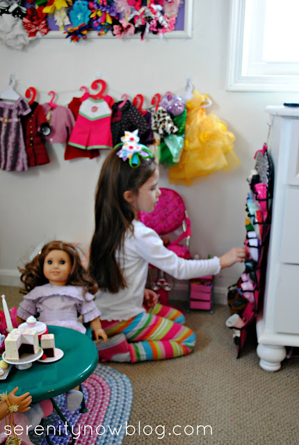 Tips for how to Organize & Display American Girl Doll Stuff, from Serenity Now