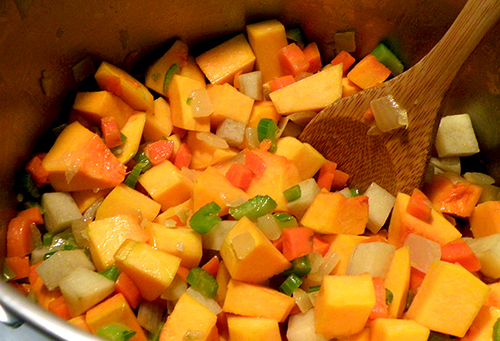 Butternut and other Veggies in Soup Pot