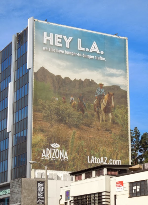 Hey LA bumper-to-bumper traffic Arizona tourism billboard