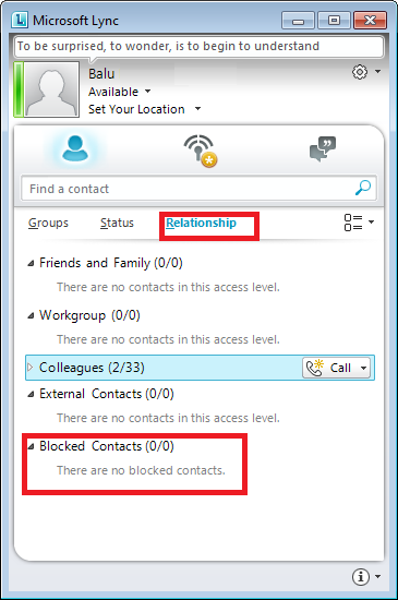 help contact list blocking unblocking