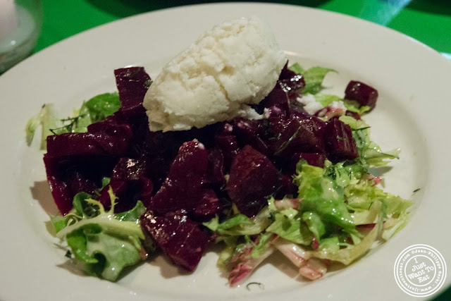 image of beets with horseradish sherbet at Table Verte, French vegetarian restaurant in NYC, New York