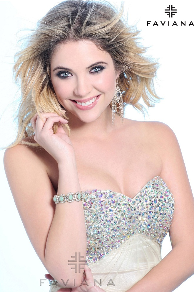 Faviana Prom Dresses Lookbook 2013 featuring Ashley Benson
