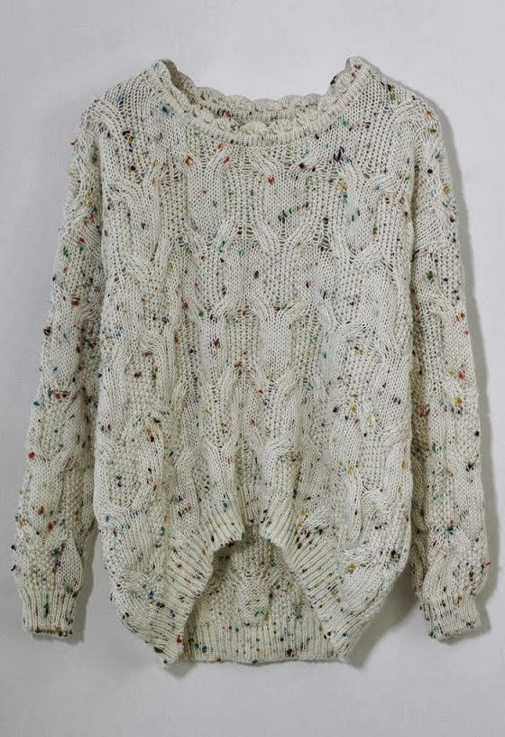 Amazing White  Sweater with Colourful Dots